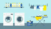 Laundry service room vector illustration. Washing and drying machines with cleansers on shelf, iron on ironing board and clean clothes.