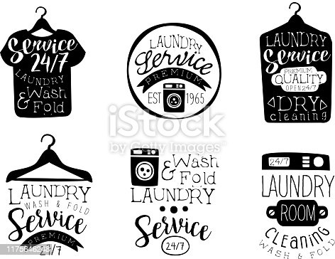 Laundry Service, Wash and Fold Labels Set, Dry Cleaning Vintage Hand Drawn Badges Monochrome Vector Illustration on White Background.