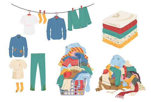 Laundry set, flat vector isolated illustration. Clean and dirty menswear, towels. Laundry basket.