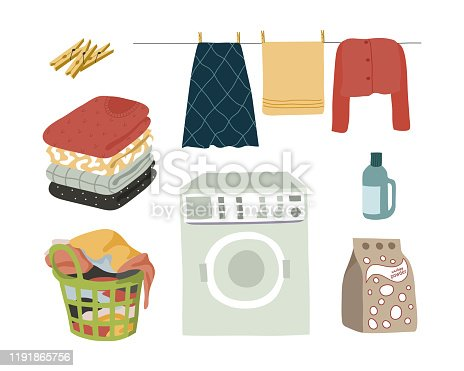 Laundry set isolated elements powder, washing machine, wet clothes with clothespins, folded clothes and a basket with dirty linen. Vector flat cartoon illustration.
