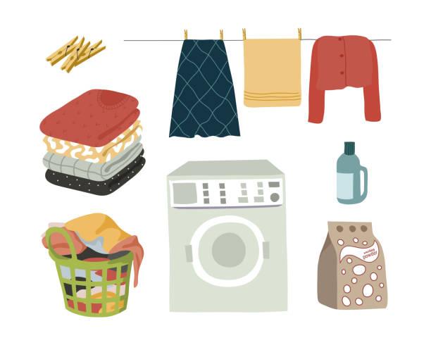 ilustrações, clipart, desenhos animados e ícones de a lavanderia ajustou o pó isolado dos elementos, a máquina de lavar, a roupa molhada com clothespins, a roupa dobrada e uma cesta com linho sujo. ilustração plana do vetor. - pilha arranjo