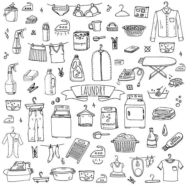 Laundry set vector art illustration
