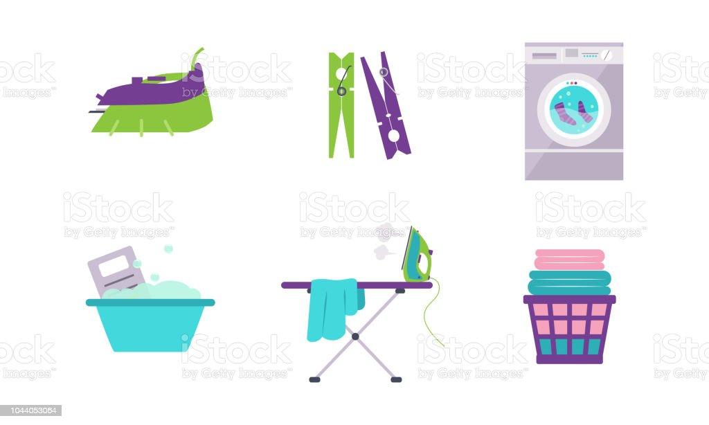 Wäsche-Set, Waschmaschine, Becken, Wäscheklammer, Bügeleisen, Bügelbrett Vektor-Illustration auf weißem Hintergrund – Vektorgrafik