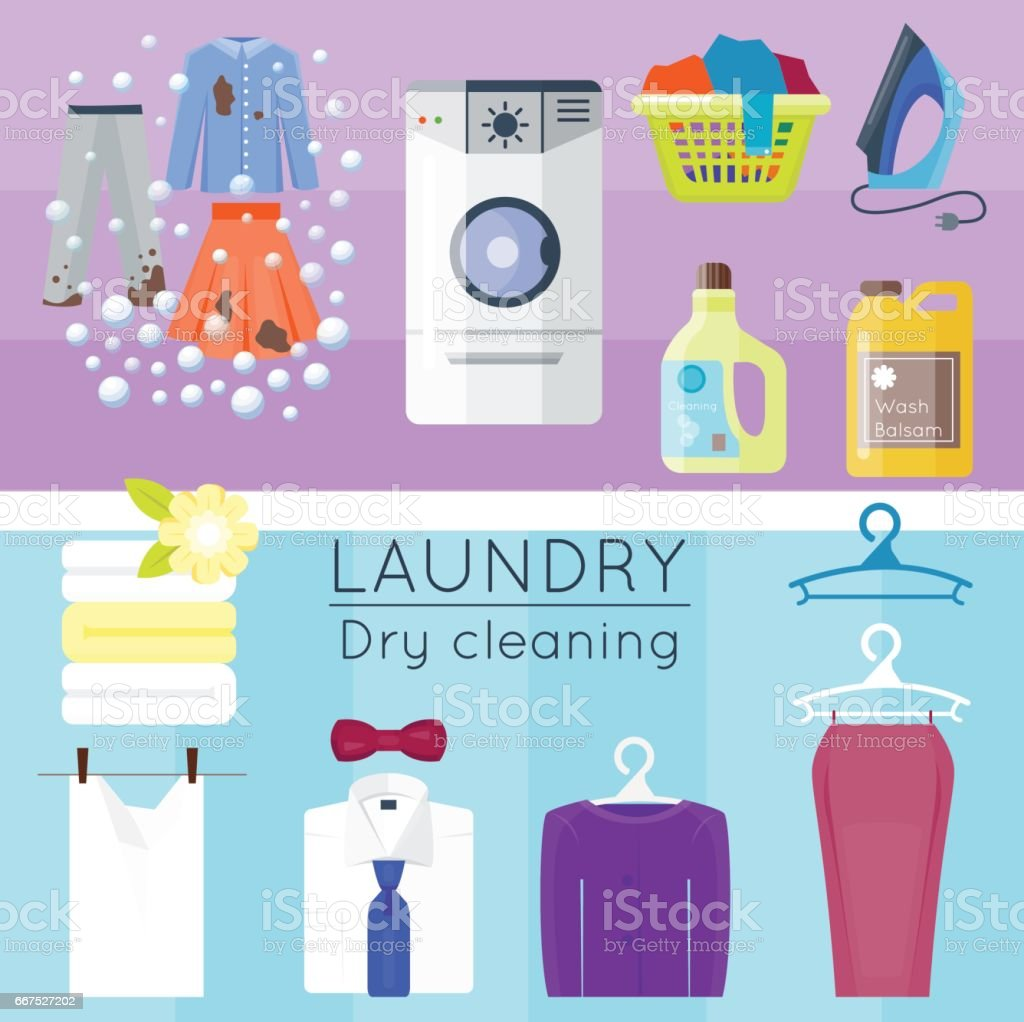 Laundry set with clothes laundry set with clothes - immagini vettoriali stock e altre immagini di abbigliamento royalty-free