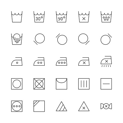 Laundry Sign Icon - Thin Line Series