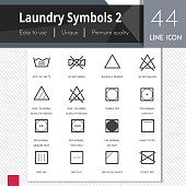 Laundry symbols 2 elements vector icons set on white background.