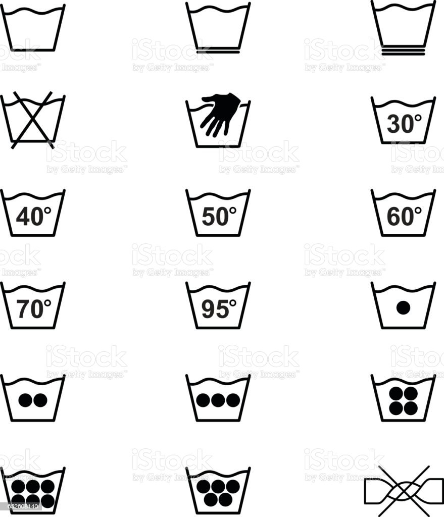 Laundry Symbols And Icons Set 1 Of 3 Stock Vector Art & More