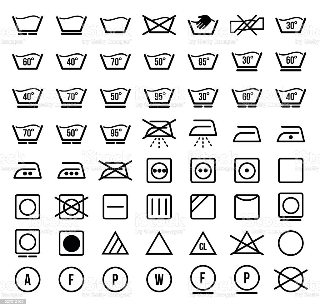 Laundry Symbols And Icons Set Vector Illustration Stock Vector Art