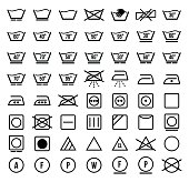 Laundry symbols and icons set vector illustration