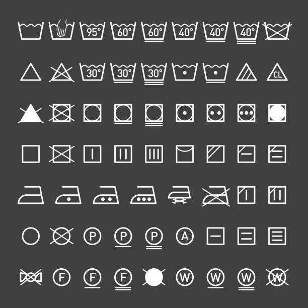 Laundry symbols collection Laundry, washing symbols collection, eps10 washing stock illustrations