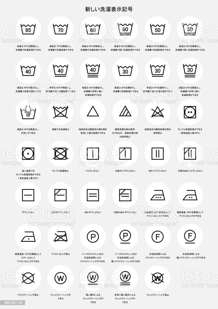 laundry symbols icon set (with Japanese explanation) - Royalty-free Advice stock vector