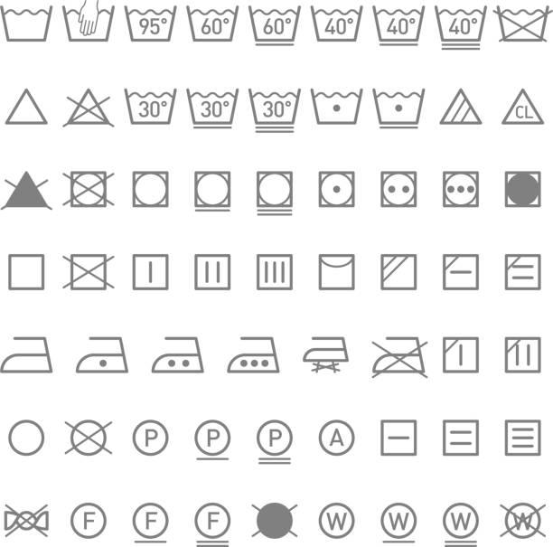 Laundry symbols Vector illustration washing stock illustrations
