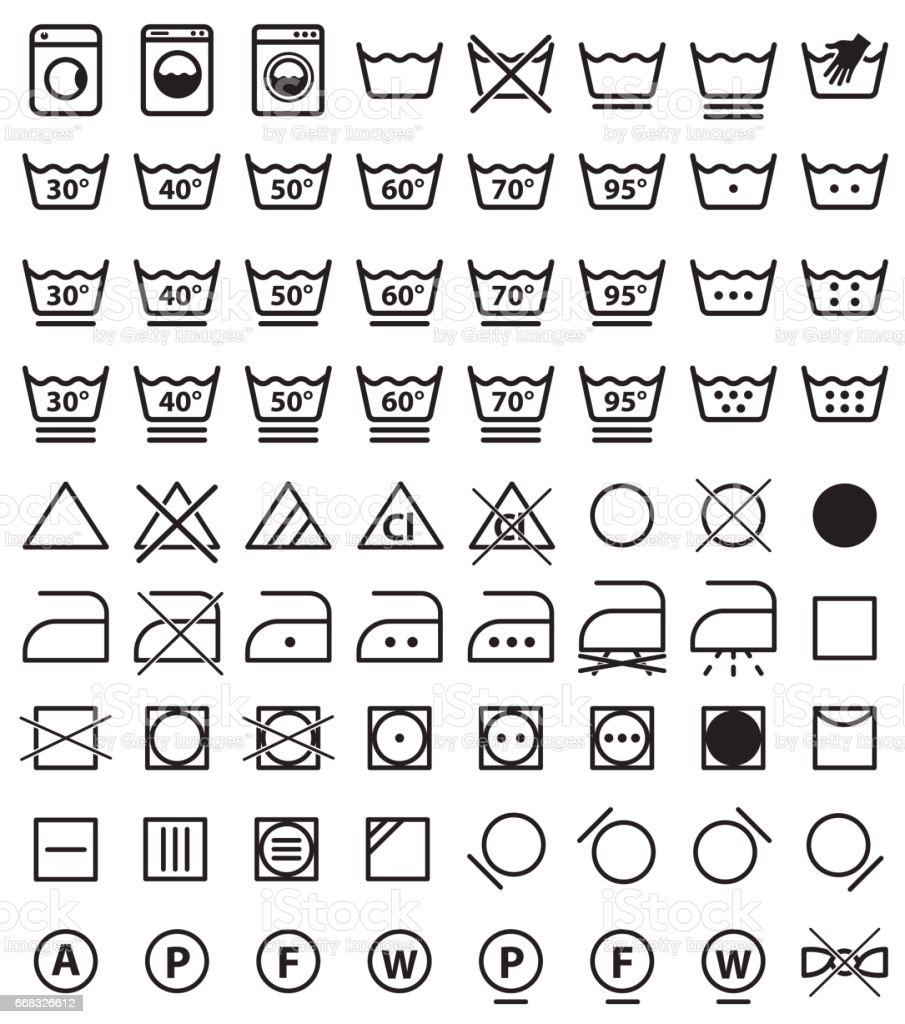 Laundry Symbols Washing Icons Stock Vector Art More Images Of Glue