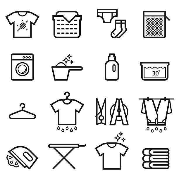 Laundry Thin Line Icons Laundry Thin Line Icons laundry basket stock illustrations