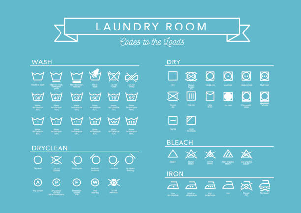 laundry vector icons set, full collection - bleach stock illustrations
