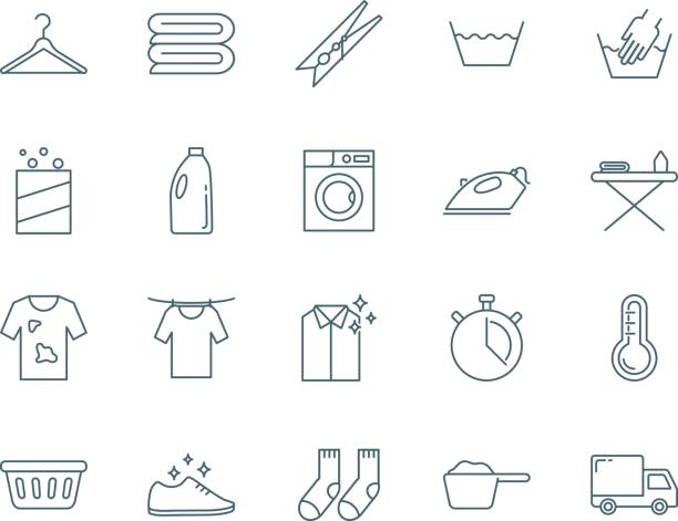 laundry vector icons set - bleach stock illustrations
