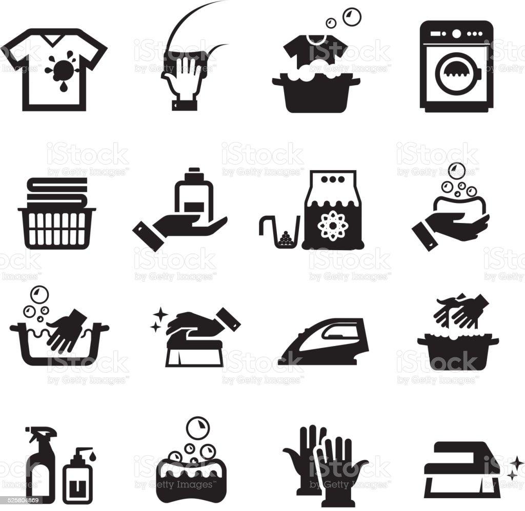 Laundry washing icons set vector art illustration