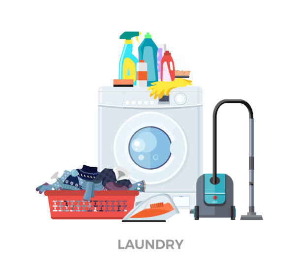 Laundry Washing Machine, Vacuum and Detergents Laundry washing machine, vacuum and detergents. Laundry and laundry basket, washing machine, washing and laundry service, detergent and vacuum, cleaner laundry, clean machine cloth vector illustration laundry basket stock illustrations