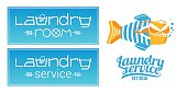 Laundry, washing service set of vector icon, symbol, emblem. Template design elements with washing machine for business related to laundry