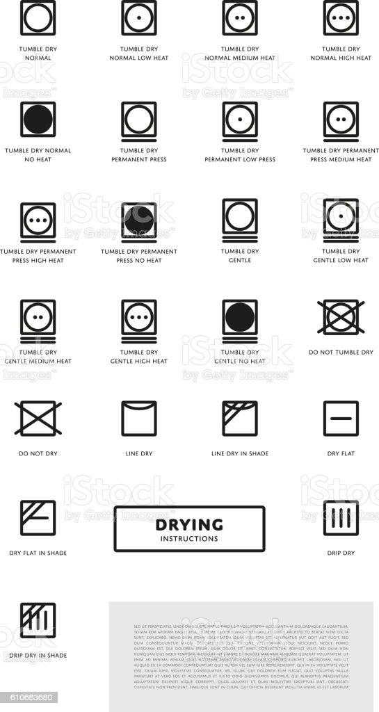Laundry Washing Symbols Icon Set Stock Illustration