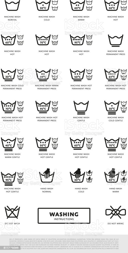 washing instruction symbols vector