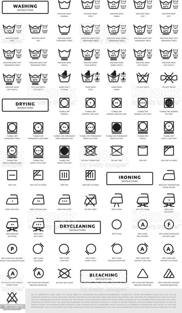 Laundry washing symbols icon set