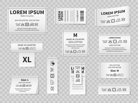 Laundry white labels. Textile care instructions tags, cotton clothes washing, drying or bleaching, water temperature and material information vector realistic isolated on transparent background mockup
