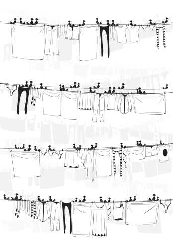Laundry with Birds Background