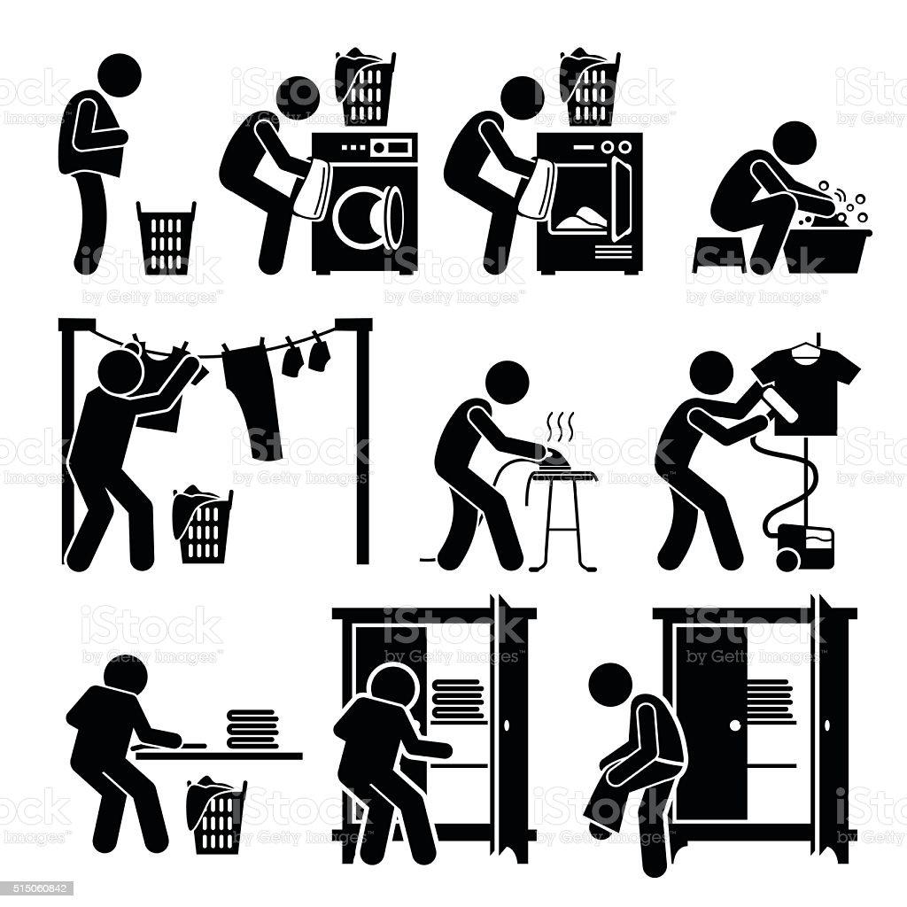 Wäsche waschen Kleidung Piktogramm funktioniert – Vektorgrafik