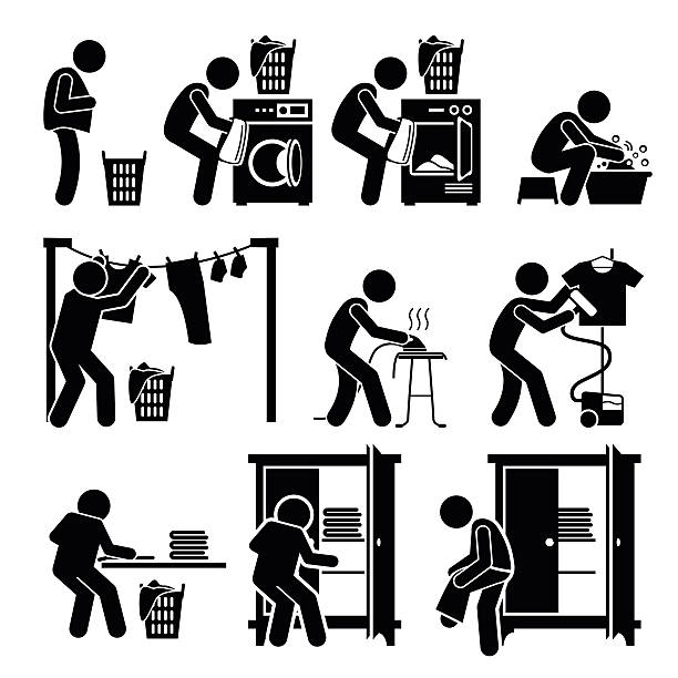 Laundry Works Washing Clothes Pictogram Set of vector stick man pictogram representing the laundry washing process. This includes throwing the dirty clothes into the washing machine, drying it with dryer or hanging under the sun, ironing, folding, and keeping it back in the cupboard. undressing stock illustrations