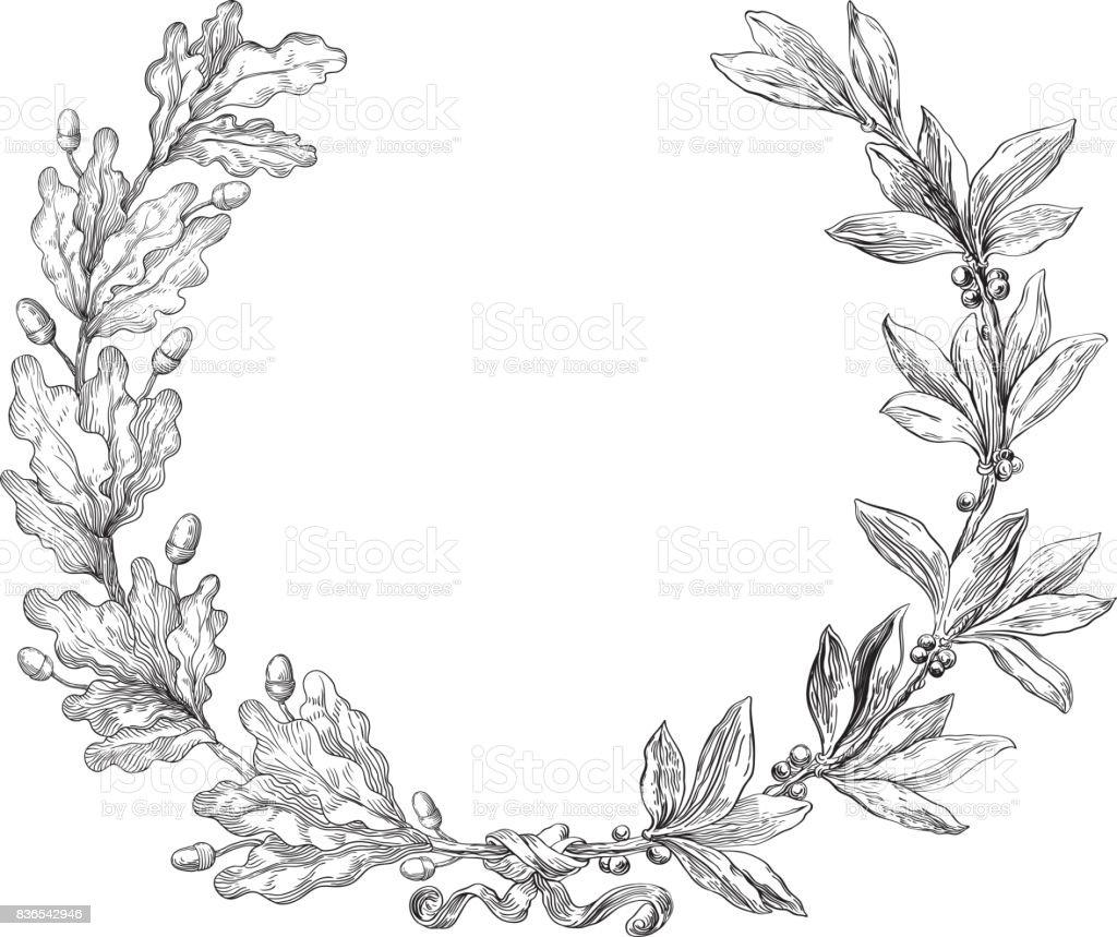 Laurel and oak wreath