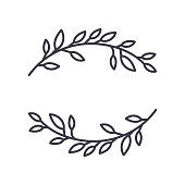 Laurel icon, thin line isolated illustration, linear vector web design sign, outline concept symbol with editable stroke on white background.
