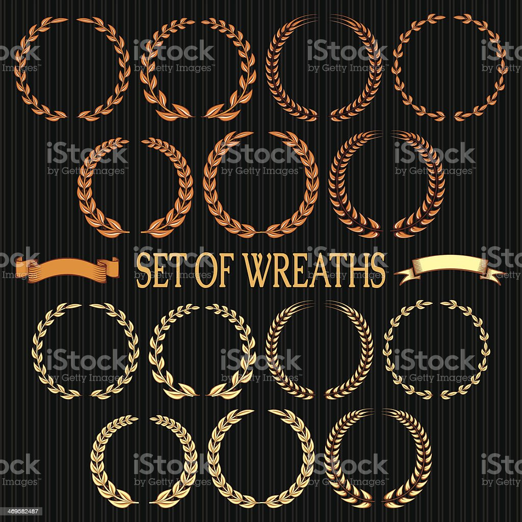 vector set of wreaths with laurel leaves and spikelets