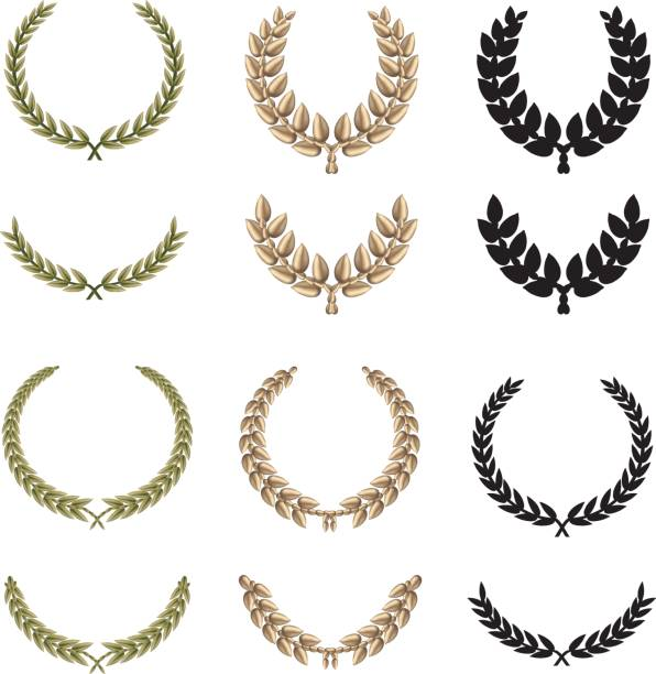 Laurel Twelve beautiful laurels in green, gold and black silhouette variations. Most elements are done with mesh. diademe stock illustrations