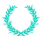 Laurel vein, honorary award, sports champion competition winner prize, victory symbol, emblem, badge, icon, trophy. A separate object of green color from branches and leaves on a white background