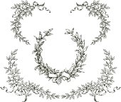 Vector drawing of a laurel wreath and branches with ribbons.