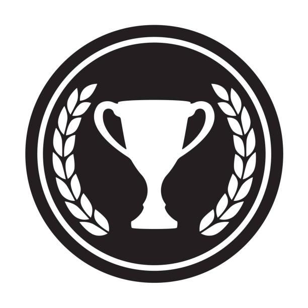 stockillustraties, clipart, cartoons en iconen met laurier krans en trofee cup. award pictogram of teken. zwarte cirkel winnaar symbool op witte achtergrond. vectorillustratie. - kampioenschap