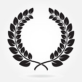 Laurel wreath. Award icon or sign isolated on white background. Vector illustration.