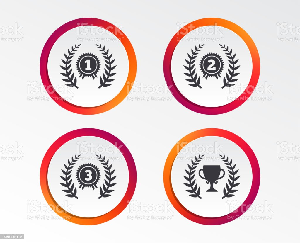 Laurel wreath award icons. Prize cup for winner. laurel wreath award icons prize cup for winner - stockowe grafiki wektorowe i więcej obrazów aplikacja mobilna royalty-free