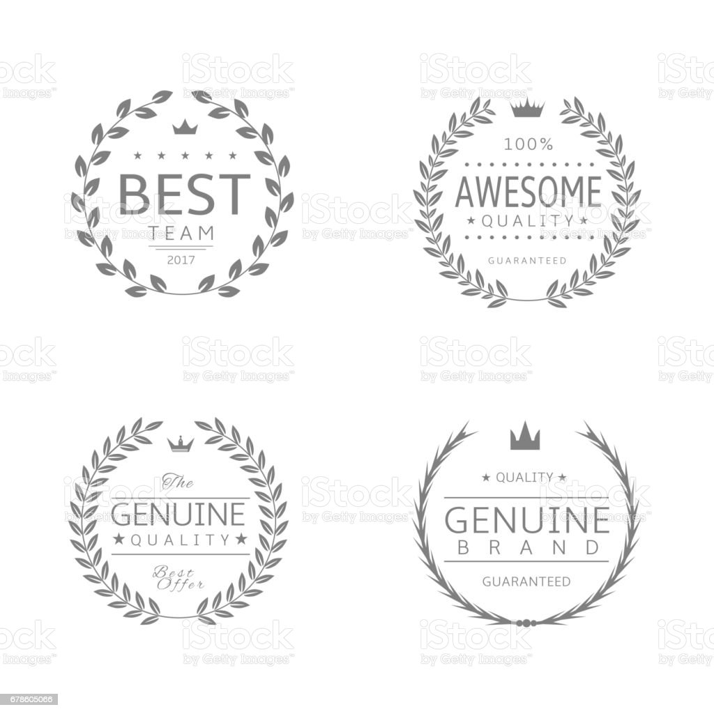 Laurel wreath award set3 vector art illustration