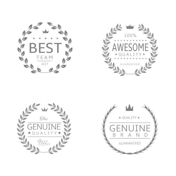 ilustraciones, imágenes clip art, dibujos animados e iconos de stock de laurel corona premio set3 - corredor de bolsa