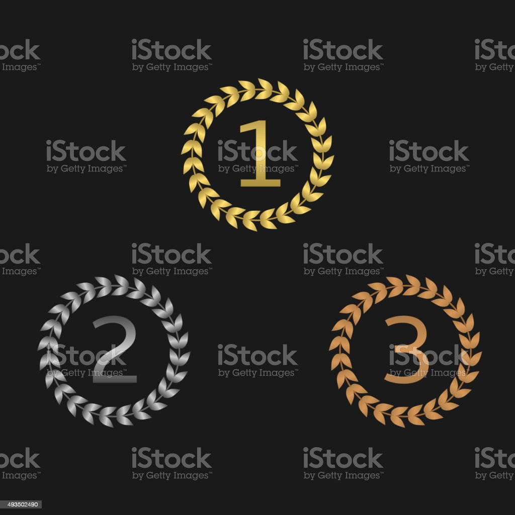 Laurel wreath awards vector art illustration