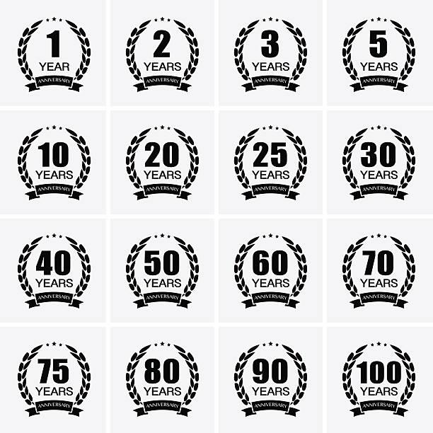 ilustrações, clipart, desenhos animados e ícones de coroa de louro collection placa de aniversário de casamento. - 25 30 anos