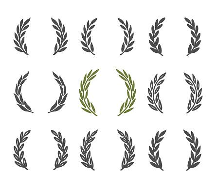 laurel wreath design element. Isolated on white background.