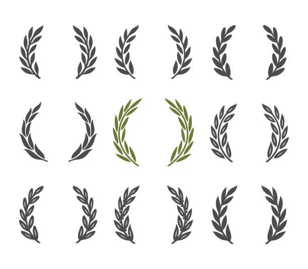 laurel wreath design element set laurel wreath design element. Isolated on white background. bay leaf stock illustrations