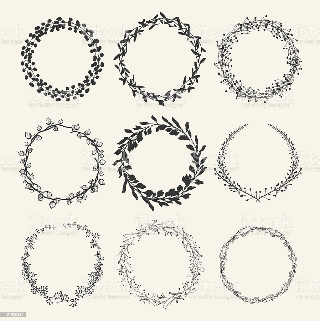 laurel wreath designs vector art illustration