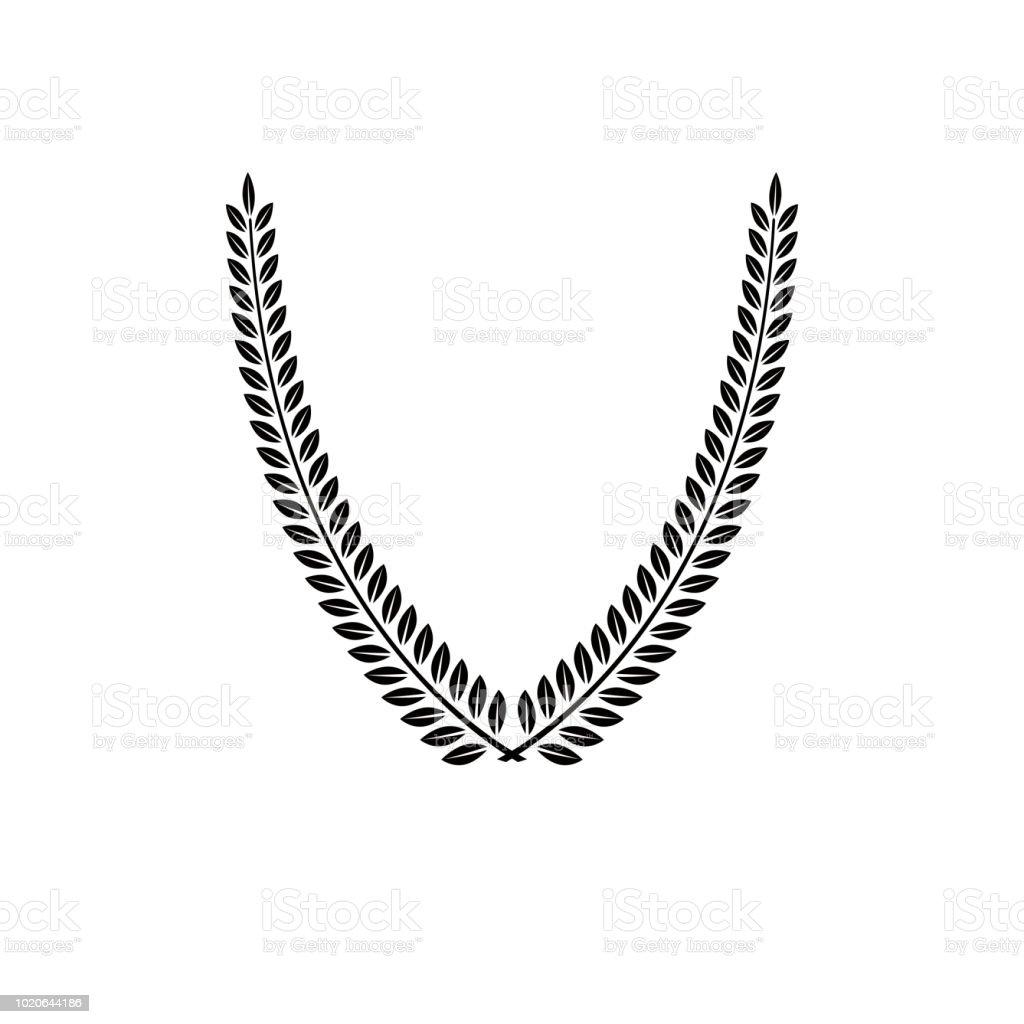 Emblema floral de Laurel Wreath criada em forma de V. Ilustração em vetor brasão heráldico sinal decorativo isolado. - ilustração de arte em vetor