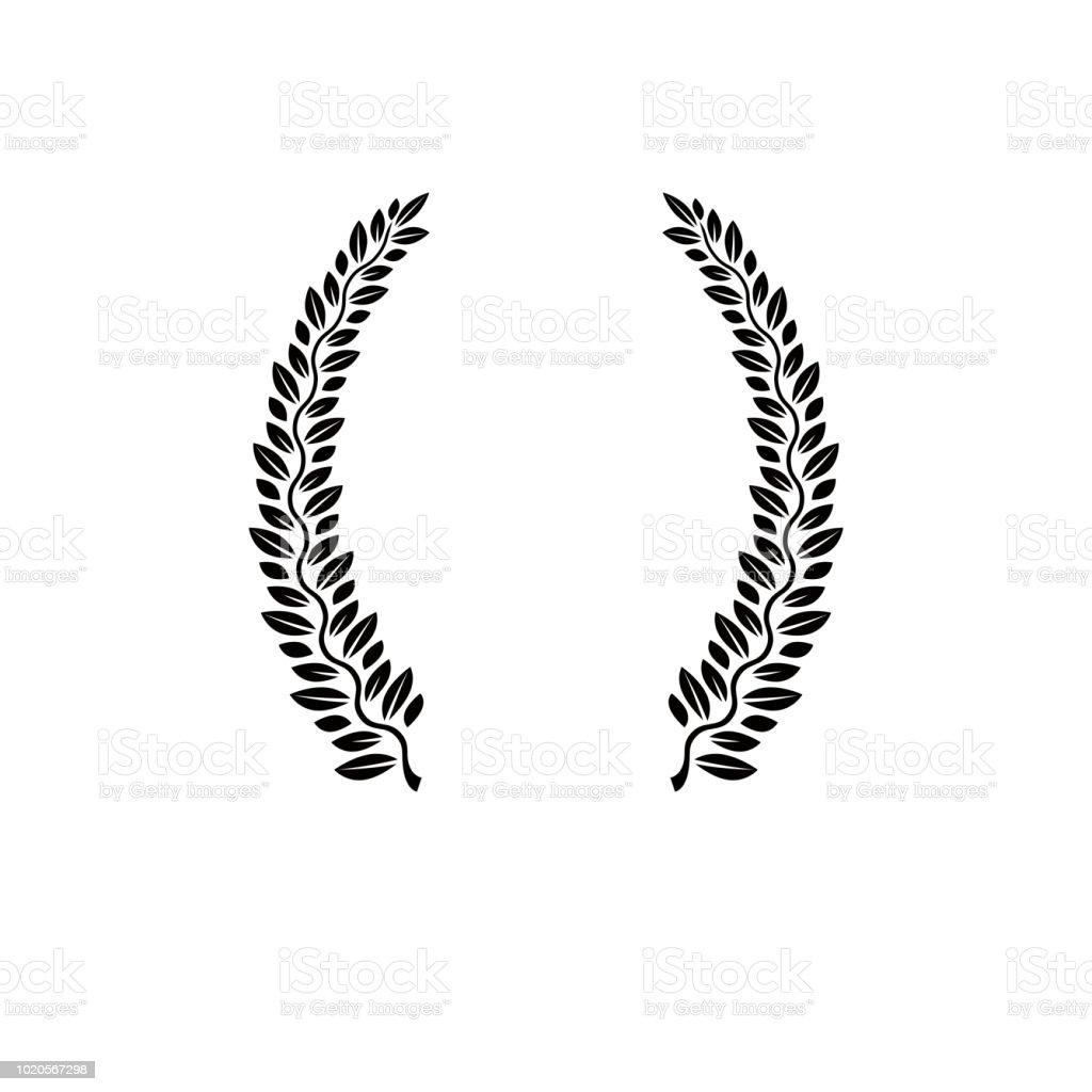 Emblema floral Laurel Wreath. Ilustração em vetor brasão heráldico logotipo decorativo isolado. - ilustração de arte em vetor