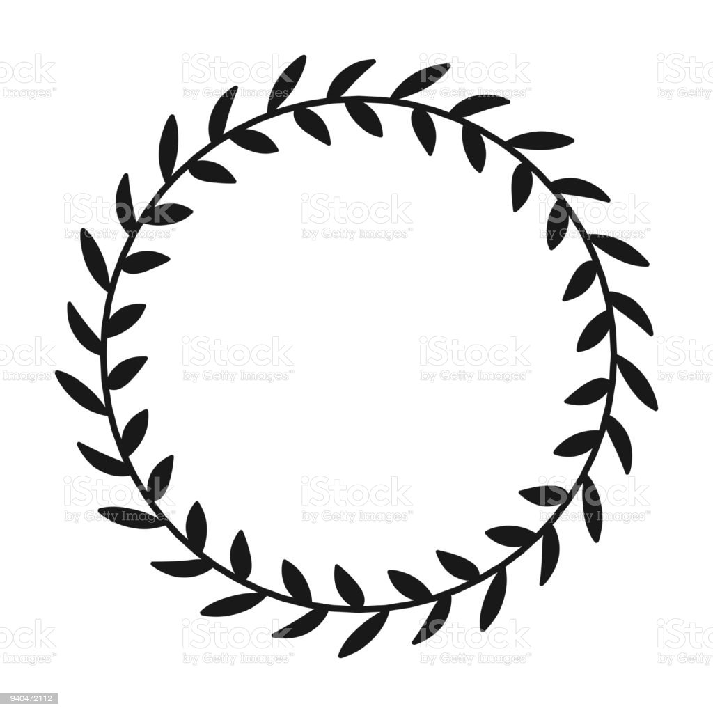 Laurel Wreath Hand Drawn Vector Round Frame For Invitations Greeting