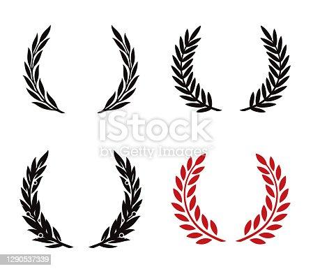 Laurel wreath. Heraldic design elements set